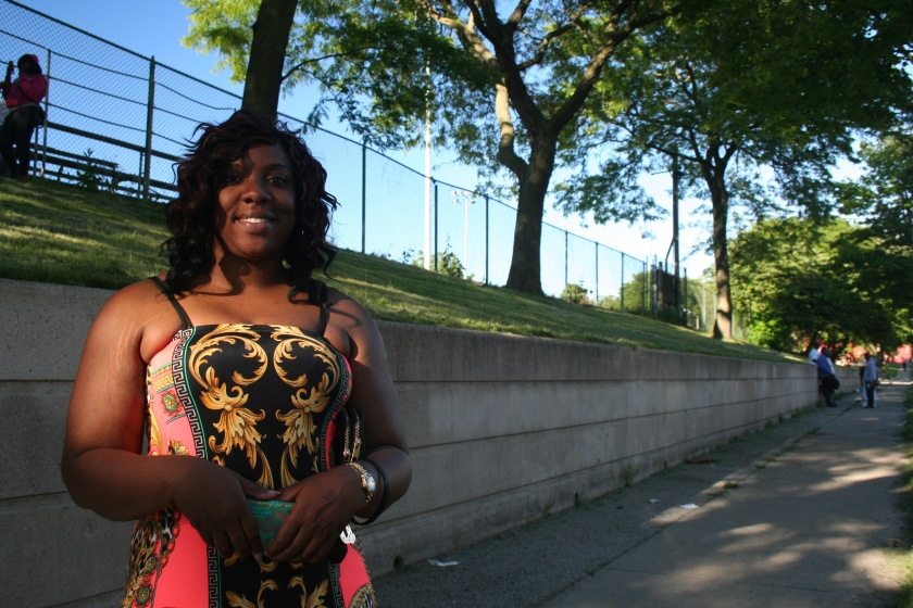 Darlene Rogers stands near the corner of 5th and Chambers near Clinton Rose Park in Harambee.