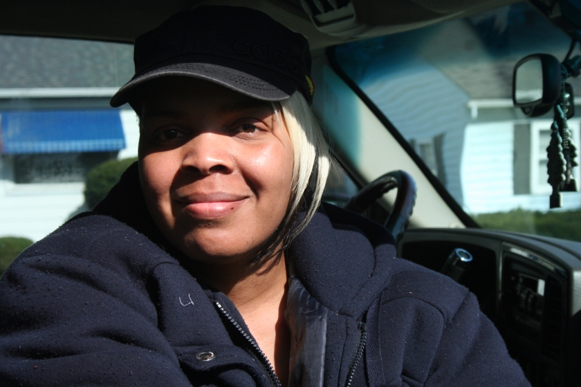 Helen LeFlore sits in a car just south of McGovern Park.
