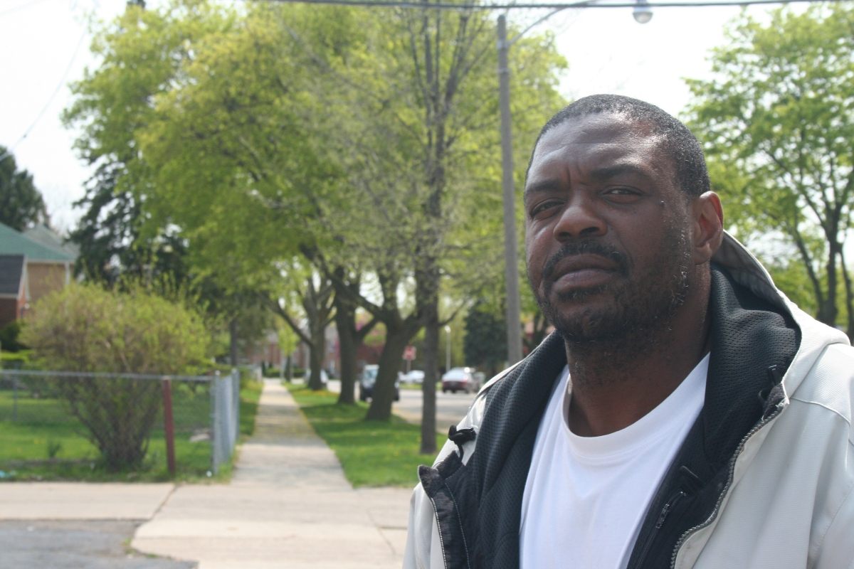Ed stands near the corner of 40th and Villard in Old North Milwaukee.