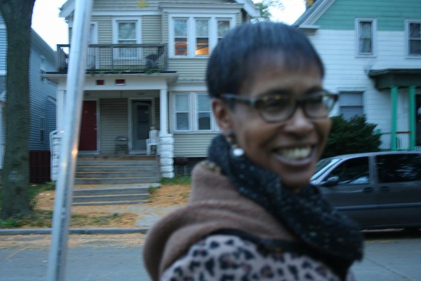 Carolyn Bradford stands on North 42nd Street in Washington Park. (Photo by Jabril Faraj)